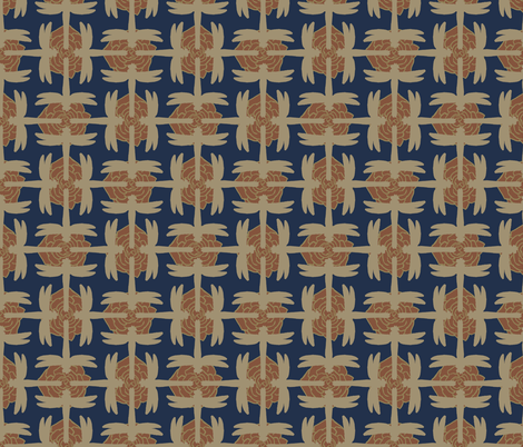Dragonfly Sayagata Inverse Blue and Gold fabric by terranacliff on Spoonflower - custom fabric