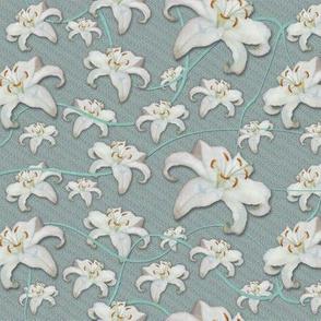 Lilies Aloft, Aqua Turquoise Ribbons