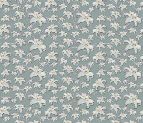 Lilies Aloft, Lavender Ribbons fabric by nancy_lee_moran_designs on Spoonflower - custom fabric