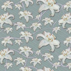 Lilies Aloft, Lavender Ribbons