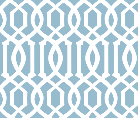Victoria Trellis in Custom Blue fabric by willowlanetextiles on Spoonflower - custom fabric
