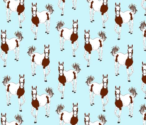 horses blue fabric by weejock on Spoonflower - custom fabric