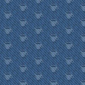 coffee cup icons on pixelated indigo denim