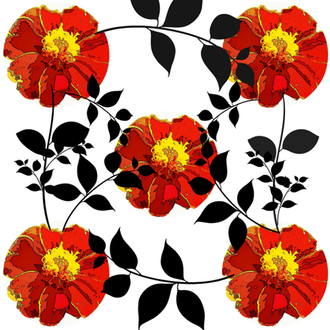 Marigold pattern with leaves fabric by katiemadeit on Spoonflower - custom fabric
