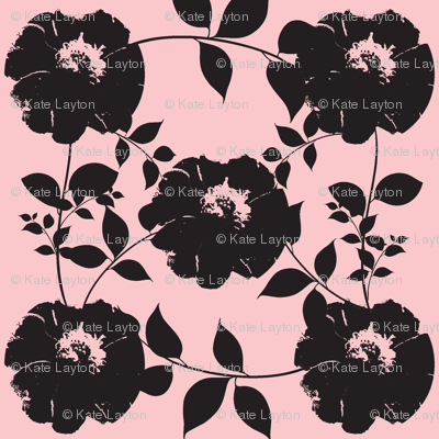 Floral pattern with leaves, pink background