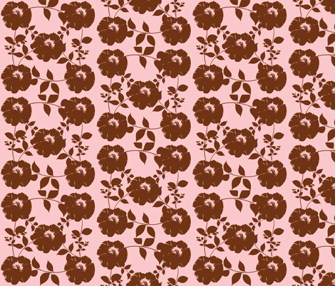 Floral pattern with leaves, pink and brown fabric by katiemadeit on Spoonflower - custom fabric