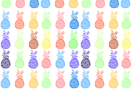 Bright Primary Colors Pineapple Party- LARGE print fabric by theartwerks on Spoonflower - custom fabric