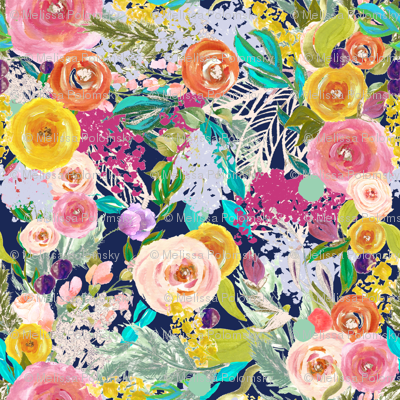 Autumn Blooms Painted Floral // Navy (Large Print)