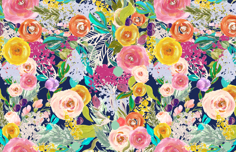 Autumn Blooms Painted Floral // Navy (Large Print)  fabric by theartwerks on Spoonflower - custom fabric