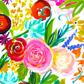 """Neon Summer Floral (Large Size 36"""" Repeat)"""