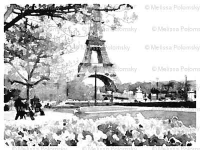 Black and White Paris Watercolor