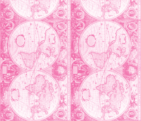 Pink World Map fabric by aftermyart on Spoonflower - custom fabric