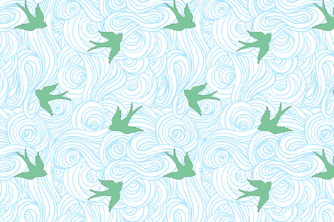 Ocean Flight, in Summer Skies fabric by willowlanetextiles on Spoonflower - custom fabric