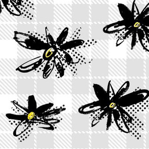 Flower Power-Gray Plaid Daisy