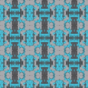 Grey and turquoise lattice