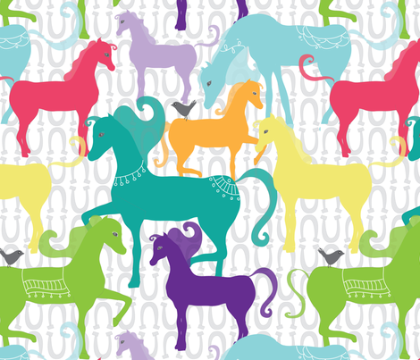 eclectic_horses fabric by tamagrams on Spoonflower - custom fabric