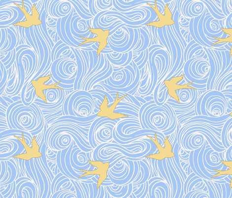Take Flight, in Dreamy Blue and Butter fabric by willowlanetextiles on Spoonflower - custom fabric