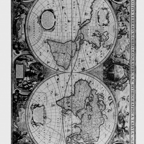 Black and White Map Fabric