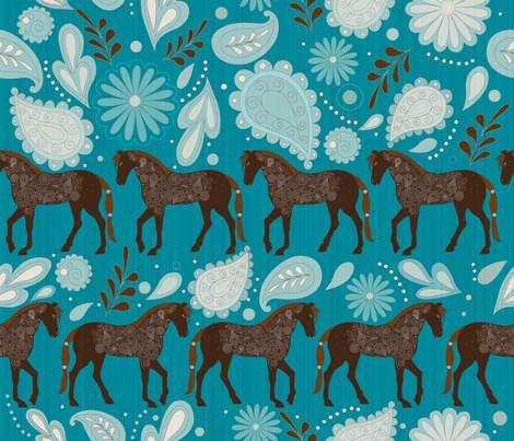 A Dance with horses Aqua fabric by liluna on Spoonflower - custom fabric