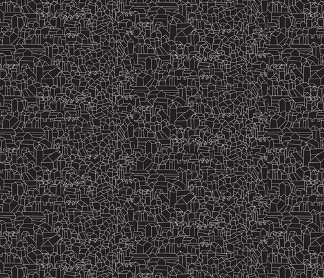 cluster_city-black fabric by redrobincreations on Spoonflower - custom fabric