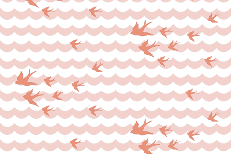 Ocean Flight in Sunny Coral fabric by willowlanetextiles on Spoonflower - custom fabric