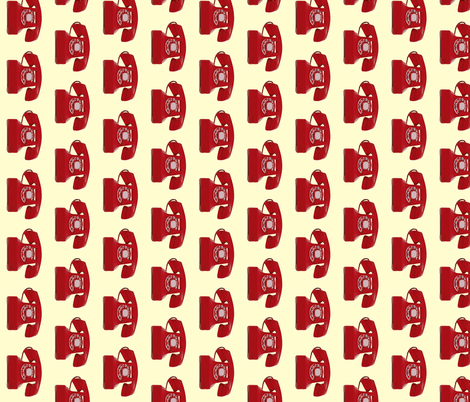 Call me! Red phone on cream background fabric by sandeeroyalty on Spoonflower - custom fabric