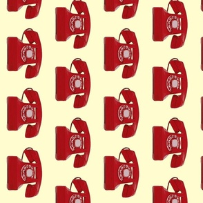 Call me! Red phone on cream background