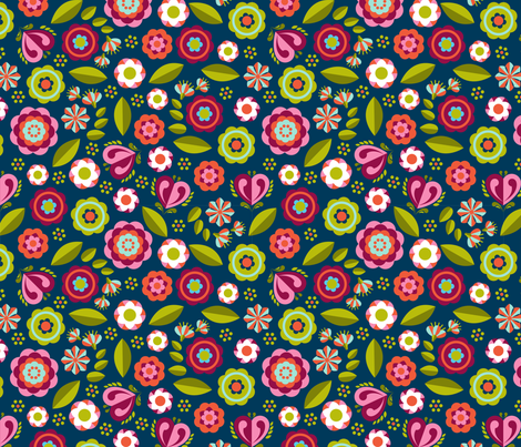 pony floral midnight fabric by cjldesigns on Spoonflower - custom fabric