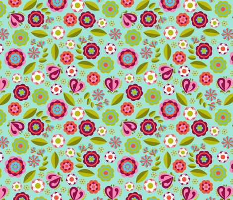 pony floral blue fabric by cjldesigns on Spoonflower - custom fabric