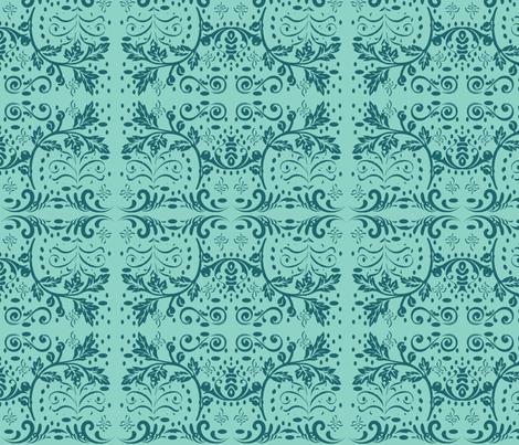 Chantilly in Ocean fabric by drapestudio on Spoonflower - custom fabric