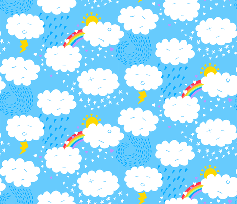 Weather clouds emotions large fabric by ladykerry on Spoonflower - custom fabric