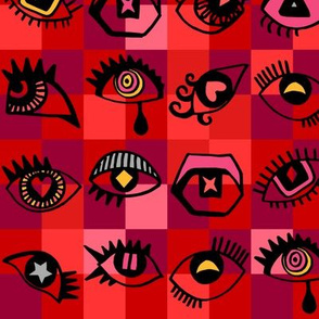 Red eyes checked background