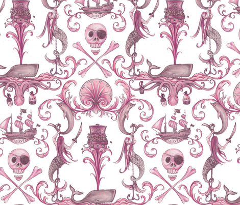 Rococo and a Bottle of Rum, Rose fabric by ceanirminger on Spoonflower - custom fabric