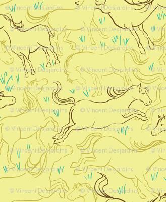 Romping Horses 4 Yellow