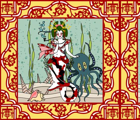 Heike clan Mermaid fabric by thirdhalfstudios on Spoonflower - custom fabric