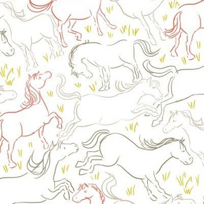 Romping Horses 7 White Coral Gray
