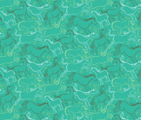 Romping Horses 9 Teal and Brown fabric by vinpauld on Spoonflower - custom fabric