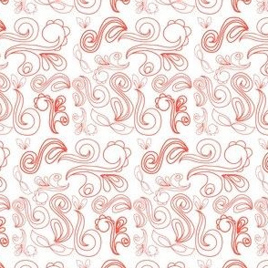 Paisley Floral - Coral pink