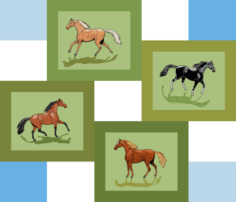 4_horse_patch_framed_blue_white_shadows fabric by khowardquilts on Spoonflower - custom fabric