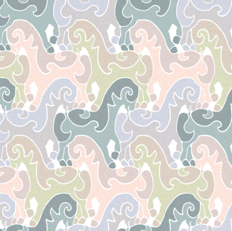 Pretty Prancing Ponies - Natural fabric by elramsay on Spoonflower - custom fabric
