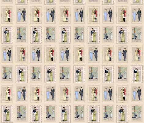Jane Austen Couples fabric by castleonthehill on Spoonflower - custom fabric
