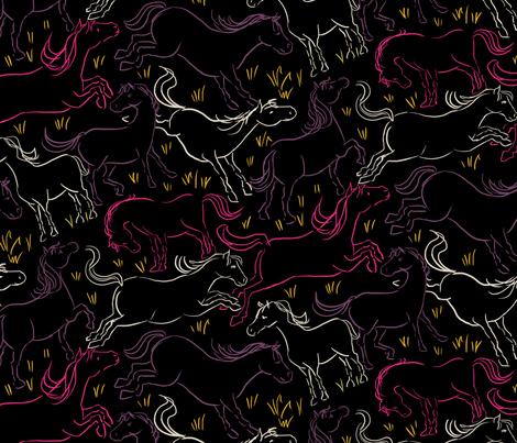 Romping Horses 10 Black Large fabric by vinpauld on Spoonflower - custom fabric