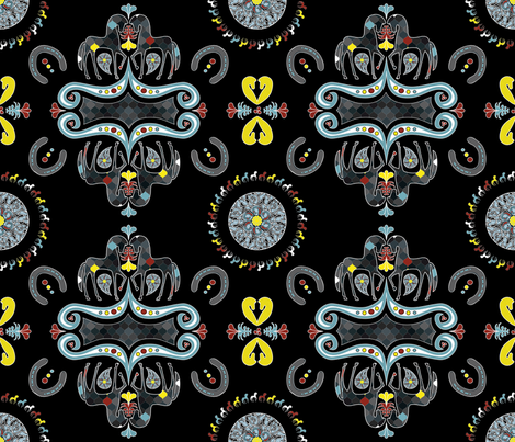 Horse Damask (21x18in) fabric by vannina on Spoonflower - custom fabric