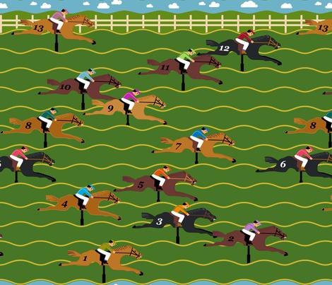 Horse Derby Arcade fabric by mariafaithgarcia on Spoonflower - custom fabric