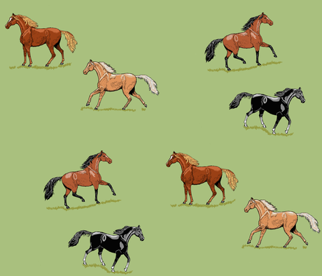 Horses Seeing Double fabric by khowardquilts on Spoonflower - custom fabric