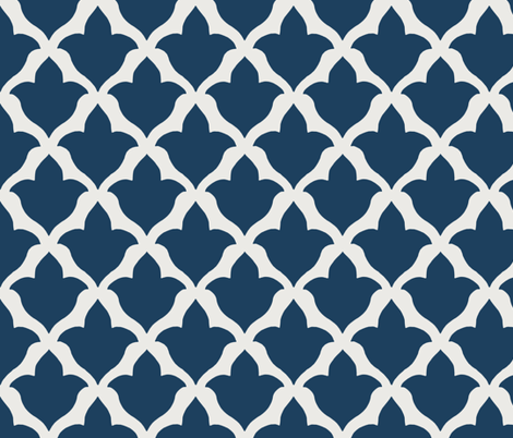 Fleur de Lis in Navy fabric by willowlanetextiles on Spoonflower - custom fabric