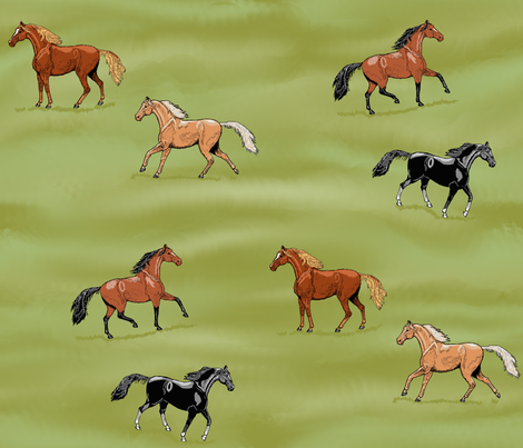 Horses Pasture Frolic fabric by khowardquilts on Spoonflower - custom fabric