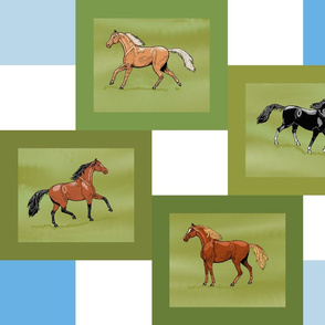 Horse Four Patch  Cheater Quilt light dark panel
