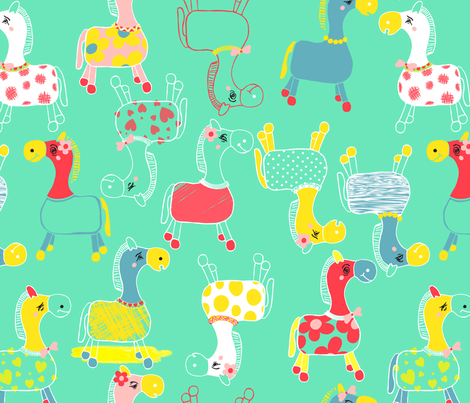 Horsing_around fabric by pragya_k on Spoonflower - custom fabric