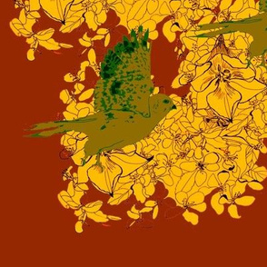 Chartreuse Sparrow Hawks and Golden Blossoms-ed